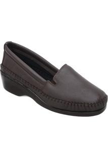 Sapato Luva De Pelica Salto Anabela 6006 Café - Feminino