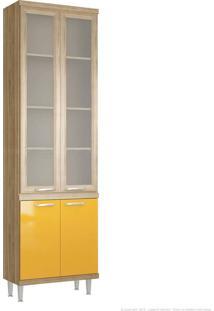 Cristaleira 4 Portas 5121 Sicília Com Vidro 231,5 X 70 X 32 Argila/Amarelo - Multimoveis