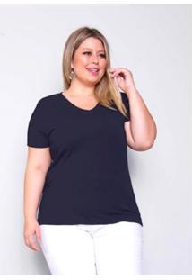 Blusa Plus Size Palank Decote V Cotton Feminina - Feminino-Azul