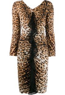 Roberto Cavalli Vestido Animal Print Com Franzido - Neutro