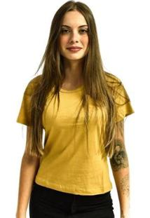 Camiseta Rich Baby Look Básica Lisa Feminina - Feminino-Marrom+Amarelo
