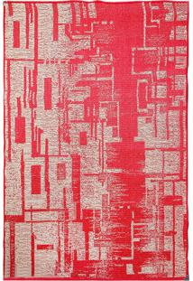 Tapete Sisllê Abstrato Iv Retangular Polipropileno (133X190) Vermelho