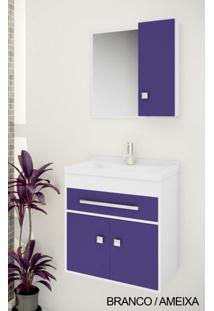 Gabinete Para Banheiro Kit Vegas 50Cm - Balcão + Espelheira + Marmorite - Branco Ameixa