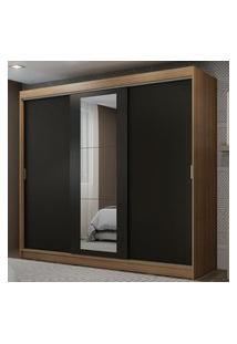 Guarda-Roupa Casal Madesa Kansas 3 Portas De Correr Com Espelho 3 Gavetas Rustic/Preto Cor:Rustic/Preto