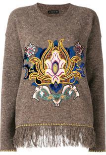 Etro Embroidered Fringe Trim Sweater - Marrom