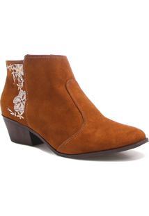 Bota Bebecê Ankle Boot Bordado