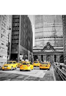 Placa Decorativa New York Taxi 25X25 Cm Preto