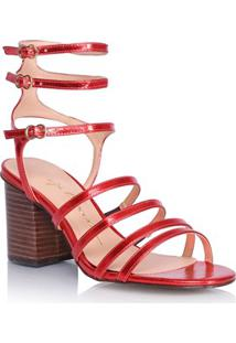 Sandália Salto Médio Gladiadora Vermelha