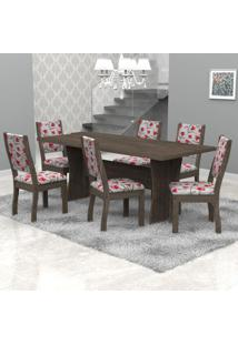 Conjunto Sala De Jantar Mesa Tampo Em Mdf E 6 Cadeiras Paris Móveis Meneghetti Wengue/Wengue/A50