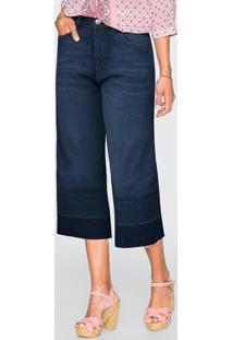 Calça Jeans Pantacourt Azul Escuro