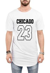Camiseta Criativa Urbana Long Line Oversized Chicago 23 - Masculino-Branco