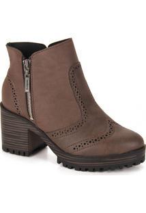 Ankle Boots Feminina Moleca - Cafe