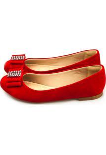 Sapatilha Love Shoes Redonda Laço Strass Vermelho