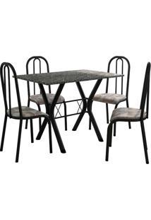 Conjunto De Mesa Miami 4 Cadeiras Preto Fosco/Tribal Fabone Móveis Tubulares