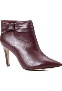 Bota Couro Shoestock Salto Fino Laço Metais Bico Fino - Feminino-Vinho