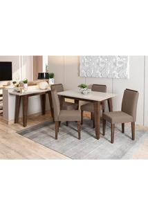 Conjunto De Mesa De Jantar Com Tampo De Vidro Jade E 4 Cadeiras Ana Veludo Off White E Marrom