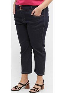 Calça Jeans Xtra Charmy Plus Size Cropped Feminina - Feminino-Azul