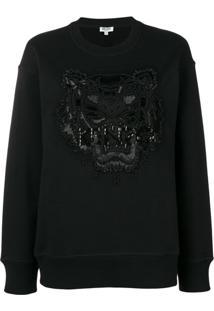 Kenzo Suéter Tiger Com Aplicações - Preto