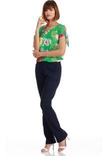 Blusa Sideral Estampa Floral Com Laço Nas Mangas Verde - Kanui