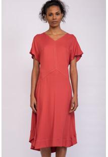 Vestido Mangas Amplas & Pespontos Contraste Vermelho-36