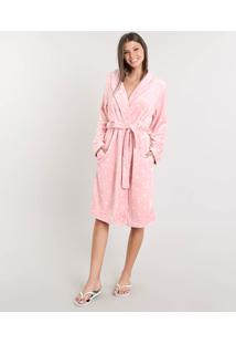Robe Feminino Em Plush Estampado De Poá Rosa