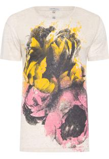 Camiseta Masculina Linho Flores - Bege