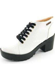 Bota Quality Shoes Verniz Cobra Feminina - Feminino-Branco