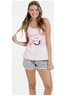 Pijama Feminino Short Doll Estampa Frontal Alças Finas Marisa