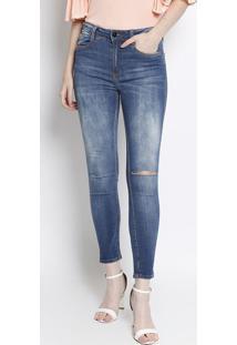Jeans High Second Skin Ankle Com Bigodes - Azul Claro