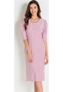 Vestido Listrado Rosa Moda Evangélica