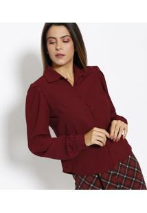 Camisa Lisa Com Botões- Vinho- Estilo Hestilo H