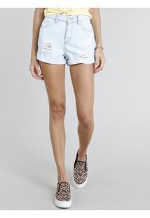 Short Jeans Feminino Manu Gavassi Mom Cintura Alta Destroyed Azul Claro