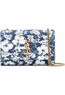 Saint Laurent Kate Floral-Print Shoulder Bag - Azul
