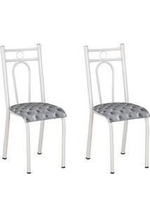 Kit Com 2 Cadeiras 023 Branco Estampa Capitone - Artefamol