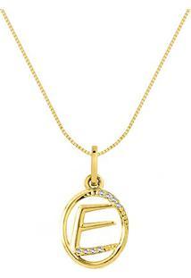 Pingente Letra E Ouro Amarelo E Diamantes 15 Mm