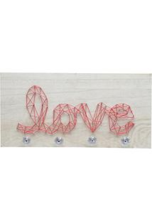 Cabideiro De 4 Pinos, Madeira, String Art Love, Vermelho, 40 X 0.9 X 20 Cm, Dirocas