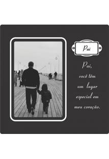 Porta Retrato Plaquet Pai Para 1 Foto 10X15 Preto Kapos