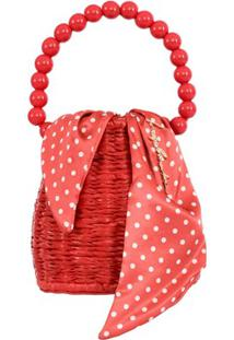 Bolsa Pequena Em Palha Vemelha E Tecido