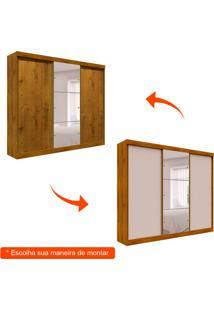 Guarda-Roupa Casal Com Espelho San Marino Flex 3 Pt Canela E Off White