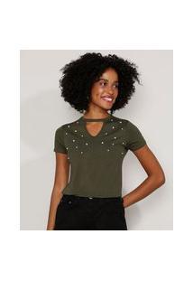 Camiseta Feminina Básica Choker Com Pérolas Manga Curta Verde Militar