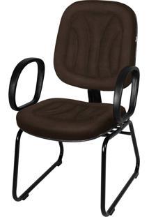 Cadeira Interlocutor Base Trapã©Zio C/ Braã§O Marrom - Marrom - Dafiti