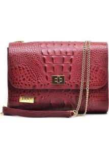 Bolsa Couro Hendy Bag Crocô Marsala Com Alças De Correntes - Feminino-Vermelho Escuro