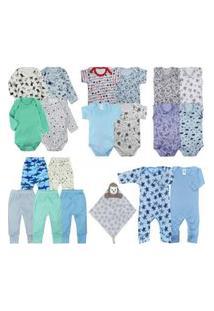 Kit Bebê 20 Pçs Enxoval Essencial Naninha Azul