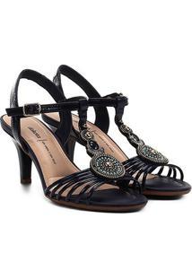 Sandália Dakota Pedraria Tiras Salto Baixo Feminina - Feminino-Marinho