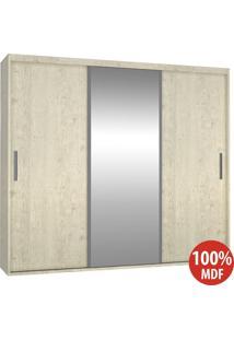 Guarda Roupa 3 Portas Com 1 Espelho 100% Mdf 1985E1 Marfim Areia - Foscarini