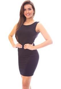 Vestido Moda Vicio Bojo E X Nas Costas Feminino - Feminino-Preto