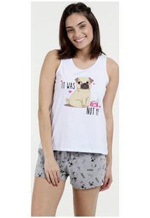 Pijama Feminina Short Doll Estampa Pug Marisa