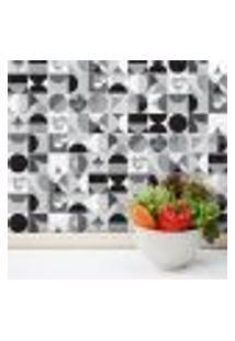 Adesivo Geométrico Para Azulejo Preto E Branco 20X20 Cm 24Un