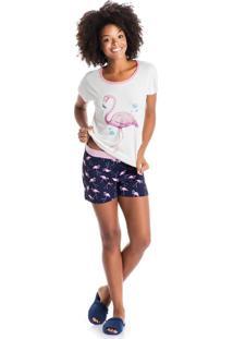 Short Doll Flamingo Azul Scuba/P