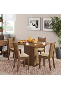 Conjunto De Mesa De Jantar Com 4 Cadeiras Lexy Linho Rustic E Pérola